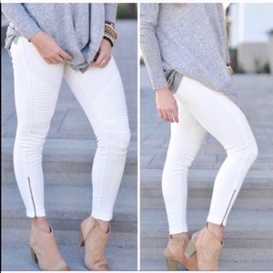 Pants - COMING SOON! White Moto Leggings with Ankle Zipper